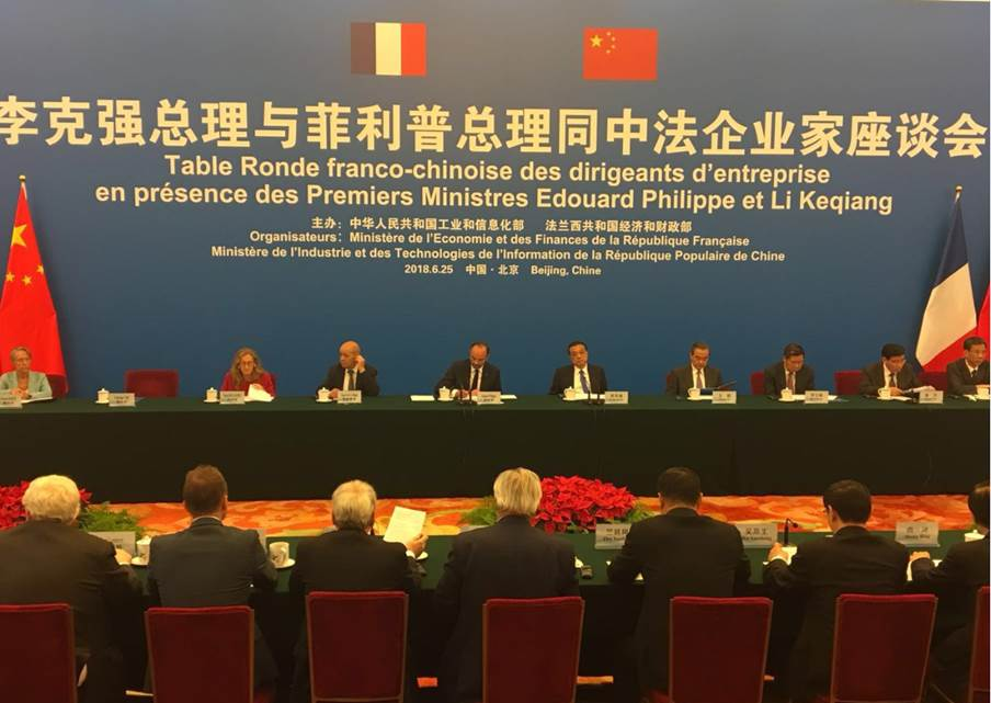 Entretien entre les entreprises françaises et les Premiers ministres français et chinois - 25 juin 2018 - Pékin